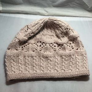 Ralph Lauren cable knit sparkly pale pink beanie